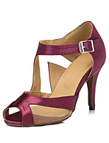 Women's Latin Satin Heels Indoor Stiletto Heel Purple 3