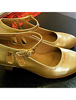 Women's Modern Patent Leather Flats Heels Practice Gold