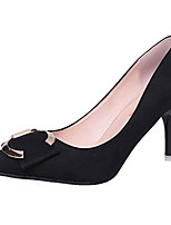 Damen High Heels Pumps Wildleder Sommer Hochzeit Normal Kleid Party & Festivität Walking Pumps Metall Zehen StöckelabsatzBeige Grau