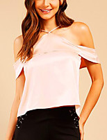 Tee-shirt Femme,Couleur Pleine Plein Air Chic de Rue Eté Manches Courtes A Bretelles Polyester Moyen