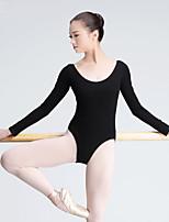 Ballet Leotards Women's Training Cotton 1 Piece Long Sleeve High Leotard