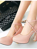 Women's Shoes Nubuck leather PU Spring Comfort Heels For Casual White Black Blushing Pink
