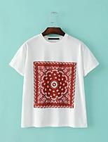 T-shirt Da donna Per uscire Casual Sensuale Semplice Moda città Estate,Con stampe Rotonda Cotone Manica corta Sottile Medio spessore