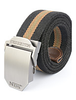 Men's Alloy Outdoor Waist Belt Casual/Business Color Block Striped Cotton Canvas Belt Khaki/Black/Army Green/Grey
