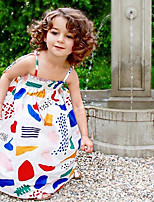 Girl's Fashion And Lovely  Cotton Graffiti Condole Cartoon Print Dress