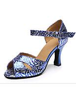 Для женщин Латина Синтетика На каблуках Профессиональный стиль Цветы Кубинский каблук Синий 5 - 6,8 см 7,5 - 9,5 см Персонализируемая