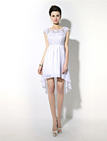 Sheath / Column Jewel Neck Asymmetrical Chiffon Cocktail Party Dress with Lace