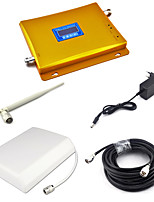 DCS 1800mhz Signal Booster DCS980 Signal Repeater Mobile Phone Signal Amplifier with Panel Antenna / Whip Antenna / 15m 75ohm Cable LCD Display/Golden