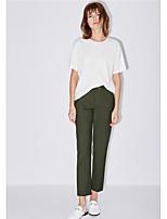 Damen Solide Einfach Alltag Normal T-shirt,Rundhalsausschnitt Kurzarm Baumwolle Mikrofaser