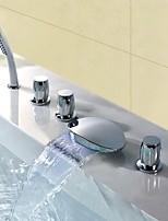 Contemporary Modern Style LED Waterfall Handshower Included with Three Handles Five Holes Chrome Finish Bathroom Tub Mixer Faucet Set