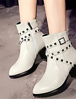 Women's Boots Comfort Fall PU Casual White Black Red 2in-2 3/4in