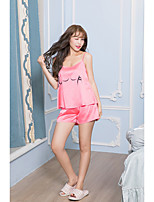 Women's 2 Pcs Shorts Sleepwear Suit Sleeveless Solid Sweet Letter Pajamas Suit