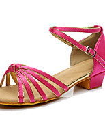 Women's Latin Silk Sneakers Performance Low Heel Fuchsia Customizable