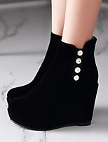 Women's Shoes PU Fall Winter Comfort Fashion Boots Boots For Casual Black Red