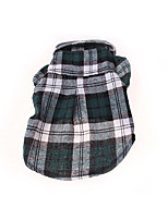 Dog Shirt / T-Shirt Dog Clothes Casual/Daily Plaid/Check Blue Green Ruby