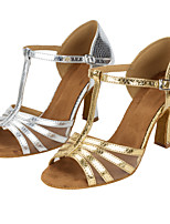Women's Latin Faux Leather Sandals Performance Criss-Cross Cuban Heel Silver Gold 3