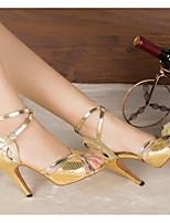 Для женщин Танцевальные кроссовки Полиуретан Сандалии Кроссовки Для закрытой площадки На толстом каблуке Золотой Красный Синий 5 - 6,8 см