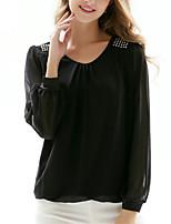 Для женщин На выход Офис Все сезоны Блуза Круглый вырез,Простое Изысканный Однотонный Длинный рукав,Полиэстер