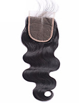 1 Pcs  4x4 Brazilian Body Wave Lace Weave Closure Hair Raw Virgin Remy Hair Bleached Knots Top Closures