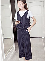 Women's Other Casual Other Casual Spring Summer Tank Top Pant Suits,Striped Round Neck Short Sleeve