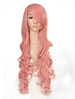 Long Pink Wavy Natural Hair Wigs Women Cosplay Synthetic False Hair High Temperature Fiber Wig