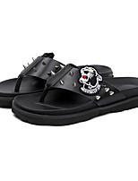 Men's Slippers & Flip-Flops Comfort Synthetic Microfiber PU Summer Casual Walking Rivet Flat Heel Black Flat