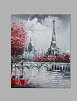 IARTS® Modern Abstract Modern City Paris Eiffel Tower Grey & Red Scenery Handmade Oil Painting On Canvas with Stretched Frame Wall Art For Home Decora