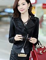 Для женщин На каждый день Осень Кожаные куртки Рубашечный воротник,Простой Однотонный Короткая Длинный рукав,Другое