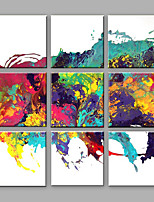 Hand-Painted Abstract Square,Contemporary More than Five Panels Canvas Oil Painting For Home Decoration