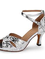 Для женщин Латина Натуральная кожа На каблуках Профессиональный стиль Кубинский каблук Серебряный 5 - 6,8 см 7,5 - 9,5 см