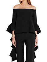 Women's Shopping Going out Casual/Daily Sexy Simple Street chic Spring Fall T-shirtSolid Simple All Match Falbala Boat Neck Long Sleeve
