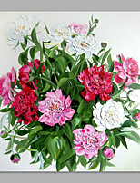 IARTS® Hand Painted Abstract Pretty Chinese Herbaceous Peony Floral Oil Painting with Stretched Frame Picture For Home Decoration Ready To Hang