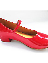 Women's Latin PU Patent Leather Flats Heels Practice Ruby Silver Gold