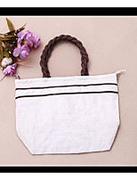 Women Tote PU All Seasons Casual Outdoor Round Zipper White