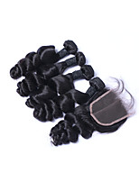 Medium Size 100% Unprocessed 4pcs 400g Loose Wave Brazilian Remy Human Hair Wefts with 1Pcs 4x4 Lace Top Closures Natural Black Human Hair Extensions