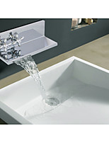 Mediterranean Beach Style Centerset Waterfall with  Ceramic Valve Two Handles One Hole for  Chrome , Bathroom Sink Faucet