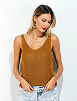 Damen Solide Sexy Alltag Normal Ausgehen Lässig/Alltäglich T-shirt,V-Ausschnitt Sommer Ärmellos Baumwolle Mittel