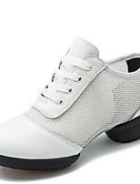 Women's Dance Shoes Nappa Leather Dance Sneakers / Modern Sneakers Low Heel Outdoor Black/White