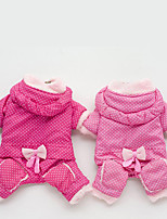 Dog Clothes/Jumpsuit Dog Clothes Casual/Daily Polka Dots Fuchsia Blushing Pink