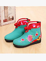 Girls' Boots Comfort Canvas Fall Casual Comfort Blue Green Ruby Flat