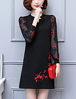 Для женщин Для вечеринок На выход Большие размеры Винтаж Шинуазери (китайский стиль) Свободный силуэт Платье Пэчворк Вышивка,V-образный