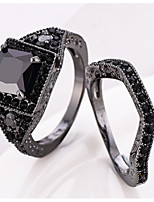 Ring Women's Euramerican Luxury Creative Detachable Black Square Rhinestone Zircon Ring Daily Party Gift Movie Jewelry