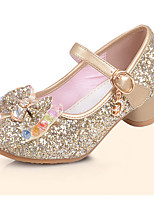 Girls' Flats Comfort Flower Girl Shoes PU Summer Fall Dress Comfort Flower Girl Shoes Sequin Flat Heel Blue Silver Gold Flat