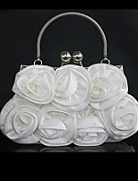 Women Tote Silk Spring All Seasons Wedding Round Floral Kiss Lock Black White Champagne