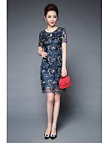 Для женщин Для вечеринок На выход Винтаж Шинуазери (китайский стиль) Оболочка Платье Вышивка,Круглый вырез Выше коленаС короткими