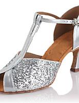 Women's Latin Silk Sandals Performance Buckle Stiletto Heel Silver 3