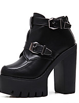 Women's Boots Fashion Boots PU Spring Casual Fashion Boots Black 3in-3 3/4in