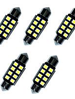 5pcs luzes led de ponta dupla 36mm 1w 8smd 2835 chip branco 80-100lm 6000-6500k dc12v canbus luz de leitura luzes da placa de matrícula
