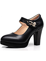 Women's Heels Basic Pump Formal Shoes Spring Fall Leatherette Wedding Casual Office & Career Dress Party & Evening Rhinestone Rivet Buckle