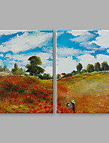 Handgemalte Landschaft Künstlerisch Abstrakt Zwei Panele Leinwand Hang-Ölgemälde For Haus Dekoration